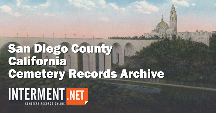 san diego county california cemetery records